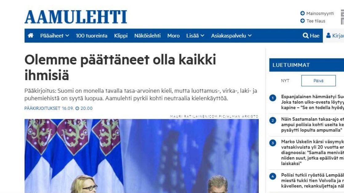 Aamulehti kutsuu jatkossa puhemiestä puheenjohtajaksi, palomiestä pelastajaksi – verkkouutiset.fi