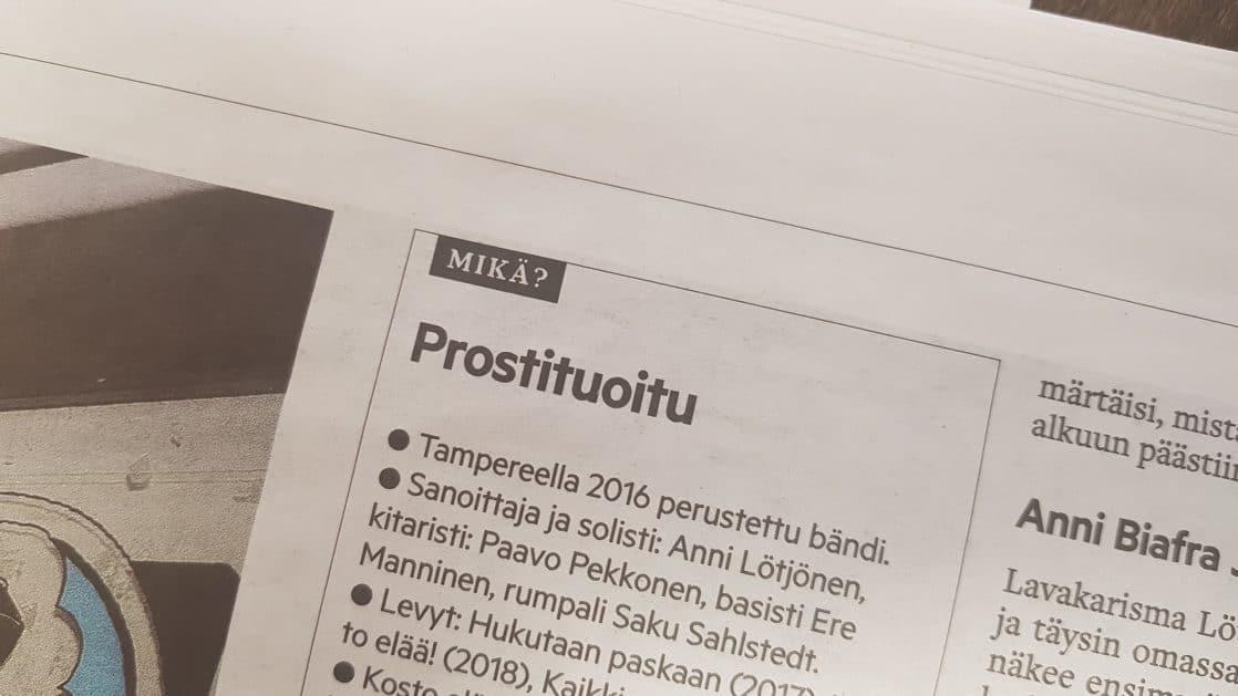 Aamulehti teki jutun Huora-yhtyeestä, muutti nimeksi Prostituoitu – verkkouutiset.fi